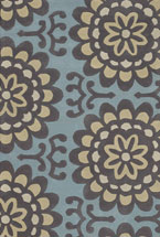 Floral Rugs Amyline Blue and Yellow