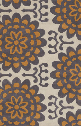 Floral Rugs Amyline Orange and Cream