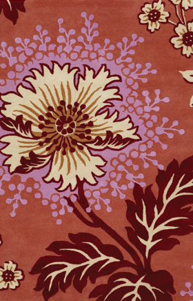 Floral Rugs Amyline Red