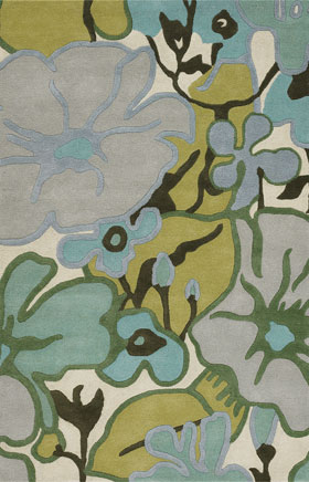 Floral Rugs Amyline Blue and Grey