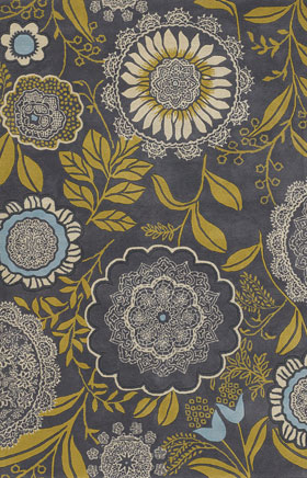 Floral Rugs Amyline Green and Grey