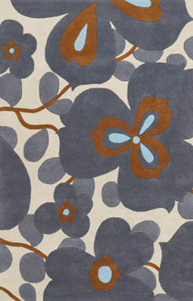 Floral Rugs Amyline Grey