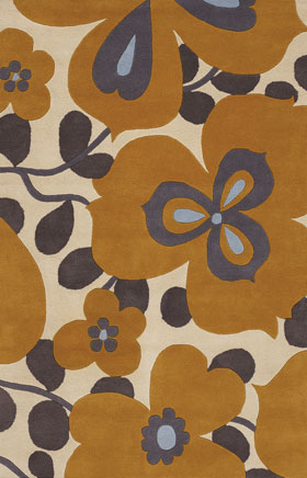 Floral Rugs Amyline Gold and Grey