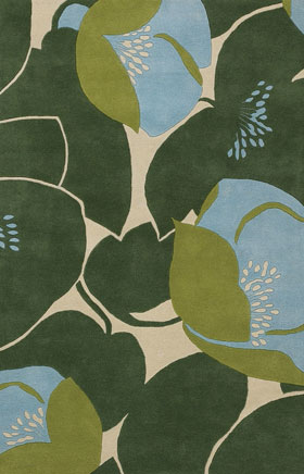 Floral Rugs Amyline Blue and Green