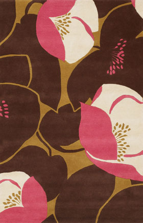 Floral Rugs Amyline Brown and Pink