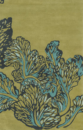 Floral Rugs Asccurria Gold and Blue