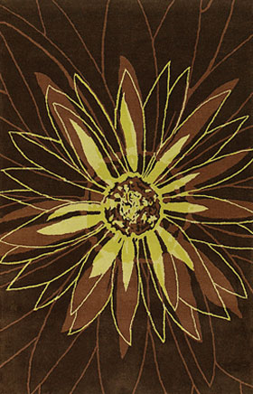 Floral Rugs Dhajam Brown and Yellow