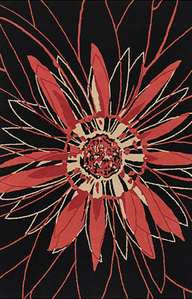 Floral Rugs Dhajam Black and Orange