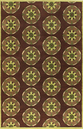 Floral Rugs Dhajam Brown