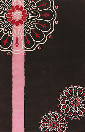 Floral Rugs Dhajam Black and Pink