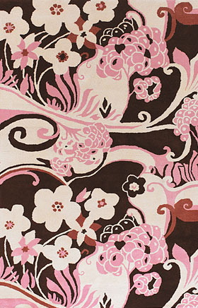 Floral Rugs Dhajam Pink and Cream