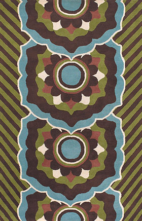 Floral Rugs Dhajam Brown and Green