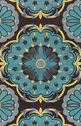 Floral Rugs Dhajam Black and Blue