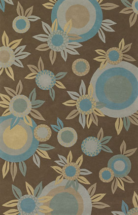 Contemporary Rugs Emmant Brown and Blue
