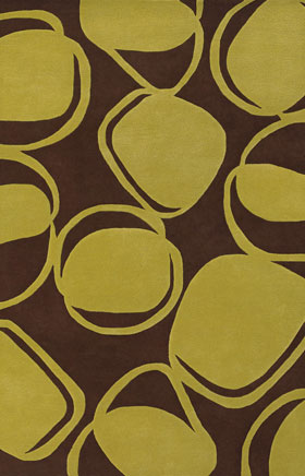 Contemporary Rugs Inhou Brown and Lime