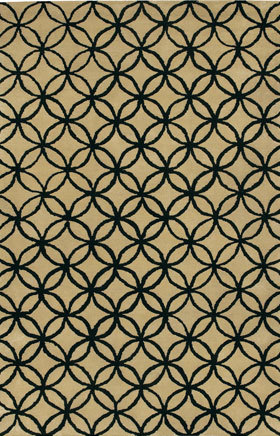 Contemporary Rugs Janttele Black and Beige