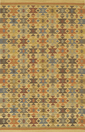 Southwestern Rugs Killimie Gold and Green