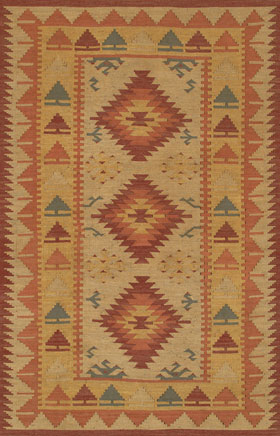 Southwestern Rugs Killimie Gold and Red