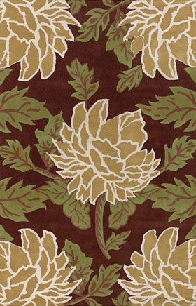 Contemporary Rugs Rowsyn Brown and Green
