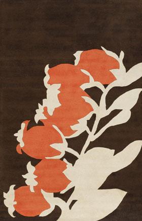 Contemporary Rugs Thompau T Black and Orange