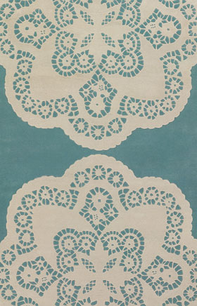 Contemporary Rugs Thompau T Blue and Ivory