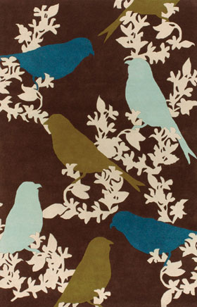 Contemporary Rugs Thompau T Brown and Blue Floral