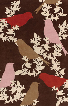 Contemporary Rugs Thompau T Brown and Pink