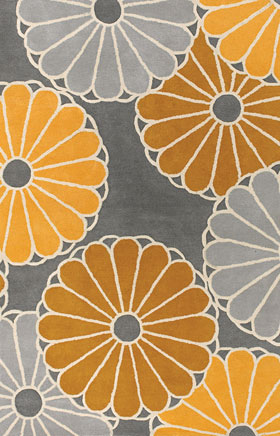 Contemporary Rugs Thompau T Orange and Grey