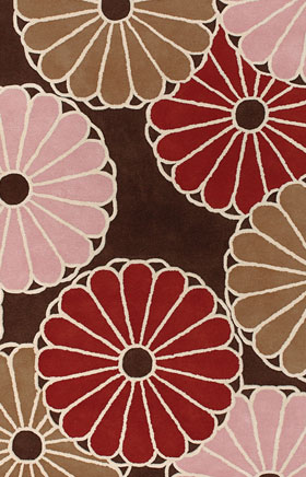 Contemporary Rugs Thompau T Brown and Red