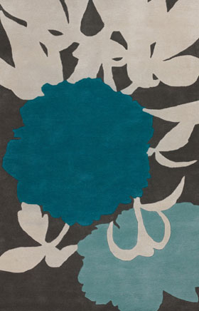 Contemporary Rugs Thompau T Blue Floral