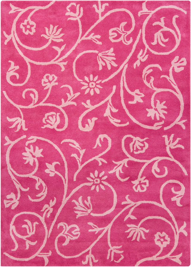 Pink And White 7 X10 Contemporary Wool Area Rugs