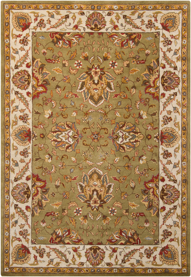 Green And Brown Traditional Wool Rugs At Discount