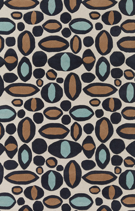 Contemporary Rugs Davin White and Brown