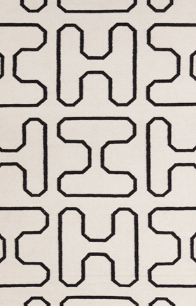 Contemporary Rugs Lima White and Black