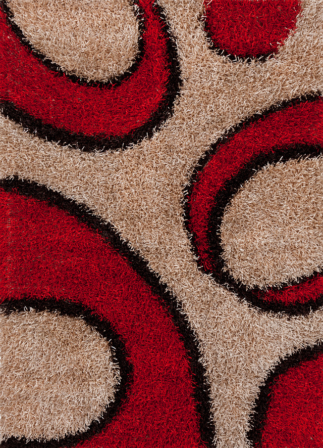 Shag Rugs Vivid Brown Red 3x5 Polyester