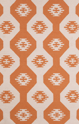 Southwestern Rugs Lima Orange and Beige