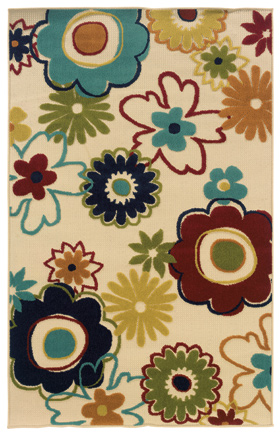 Floral Rugs Lagos Ivory 11482