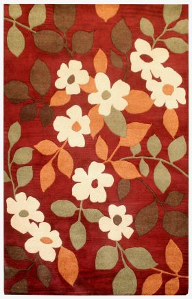 Floral Rugs Pandora Burgundy 12288