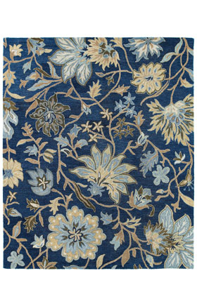 Floral Kaleen Rugs Brooklyn Blue 12791