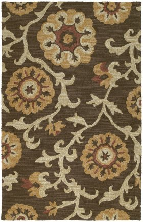 Floral Kaleen Rugs Carriage Brown 12802
