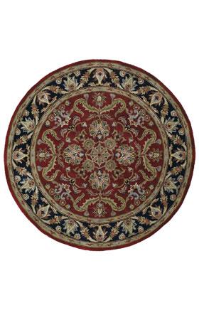 Traditional Kaleen Rugs Tara Rounds Burgundy 12836