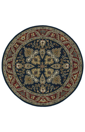 Traditional Kaleen Rugs Tara Rounds Blue 12837
