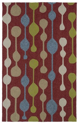 Contemporary Kaleen Rugs Home and Porch Red 12853