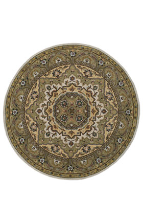 Traditional Kaleen Rugs Tara Rounds Ivory 13014