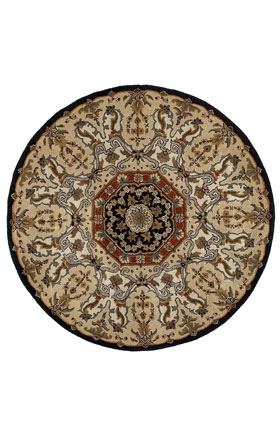 Traditional Kaleen Rugs Tara Rounds BLACK 13016