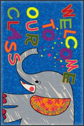 Kids Flagship Rugs Welcome-Mat-Class-Elephant Blue  13168