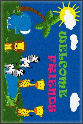 Kids Flagship Rugs Welcome-Mat-Friends-Safari Blue-13200