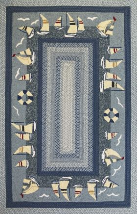 Kas Braided Rugs Fairfax Blue 14039