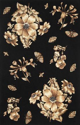 Kas Floral Rugs Ruby Black 14389