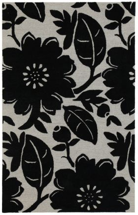 Jaipur Floral Rugs Blue Black 14510